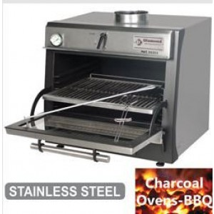 Diamond CBQ-060/SS Houtskooloven-BBQ, GN 1/1 (60 Kg/h)/Roestvrij staal
