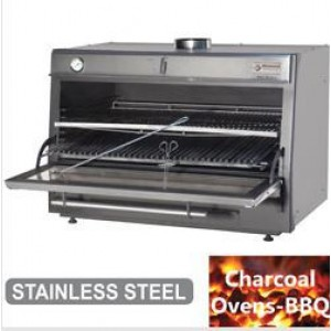 Diamond Houtskooloven-BBQ, GN 2/1 + GN1/1 (150 Kg/h)/Roestvrij staal
