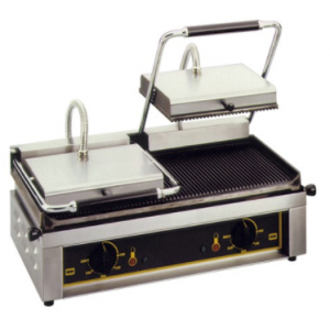 Roller Grill dubbel contactgrill (gegroefd/gegroefd)