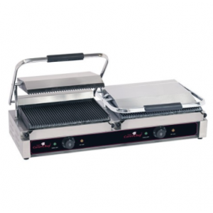 Caterchef dubbel contactgrill gegroefd