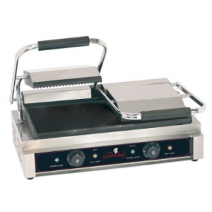 Caterchef duetto compact plus contact grill (glad/gegroefd)