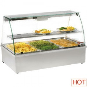 Diamond warmhoudvitrine, bain-marie 3 GN 1/1, panoramisch