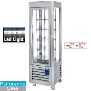 Diamond panoramic line panoramic  Display, vitrine, 5 roosters, 360 LT, RVS