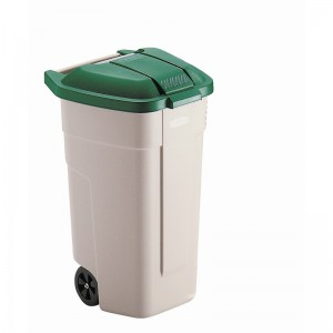 Rubbermaid rolcontainer met blauwe deksel