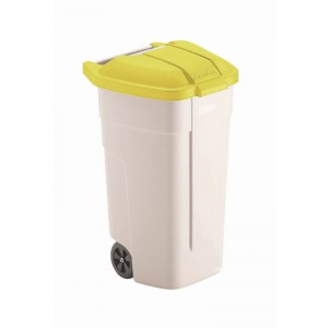 Rubbermaid rolcontainer met gele deksel