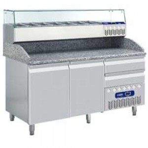 Diamond pizza line plus frigotafel, 2/3 deuren 600x400 mm en 2/3 neutrale laden- GN 1/3-1/4